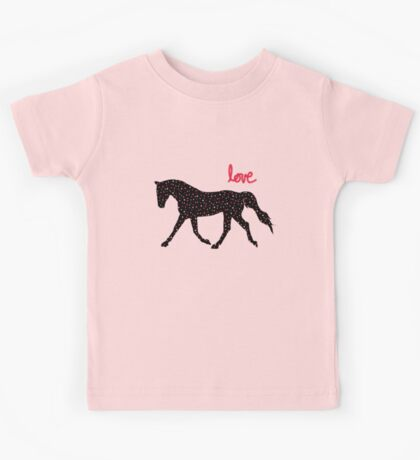 Cute Horse, Hearts and Love Kids Tee