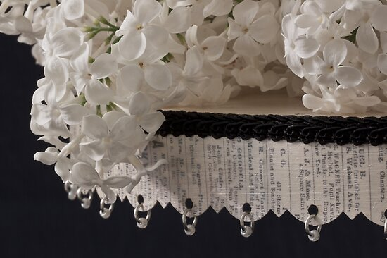 Lilac Blossom On Beaded Pedestal by Sandra Foster