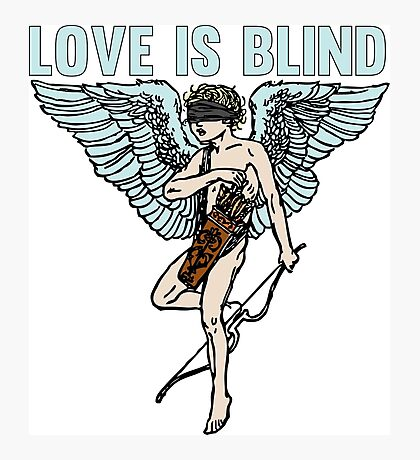 Love is Blind Cute Cool Vintage Cartoon Cupid T-shirts And Gifts Photographic Print