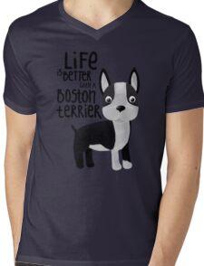 Boston Terrier Mens V-Neck T-Shirt