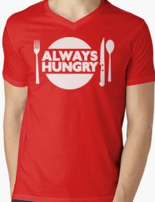 Always Hungry [Dinner] [White] | Stay Hungry Stay Foolish Shirts Mens V-Neck T-Shirt