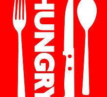 Hungry [Forks n Knives] [White] | Stay Hungry Stay Foolish Shirts by FreshThreadShop