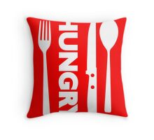 Hungry [Forks n Knives] [White] | Stay Hungry Stay Foolish Shirts Throw Pillow