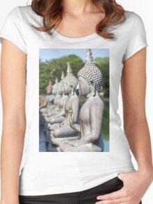 Buddha Statues, Seema Malakaya, Sri Lanka Women's Fitted Scoop T-Shirt