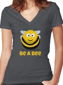Be A Bee Cool Cute Funny Cartoon T-Shirts and Gifts Women's Fitted V-Neck T-Shirt