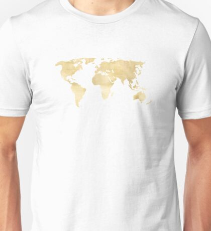 Gold World Map Unisex T-Shirt