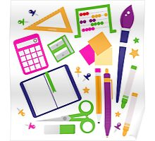 Set of school items cartoon : beautiful clip-art Illustration Poster