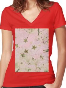 Cherry Blossoms Background Women's Fitted V-Neck T-Shirt