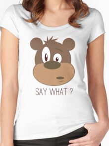 Cool Cute Cartoon Funny Bear Confused Say What T-Shirts and Gifts Women's Fitted Scoop T-Shirt