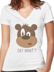 Cool Cute Cartoon Funny Bear Confused Say What T-Shirts and Gifts Women's Fitted V-Neck T-Shirt