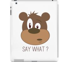 Cool Cute Cartoon Funny Bear Confused Say What T-Shirts and Gifts iPad Case/Skin