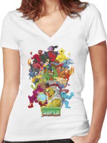 Super Sesame Street Fighter Women's Fitted V-Neck T-Shirt
