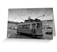 Tram in Rossio, Baixa, Lisbon, Portugal Greeting Card