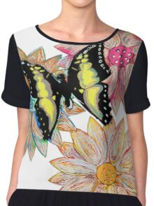 blossoms with butterfly Chiffon Top