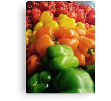 Peppers in the rainbow Canvas Print