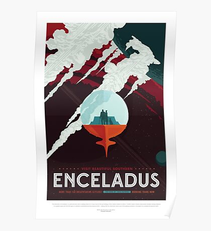 Enceladus - More Than 100 Breathtaking Geyers - Space Tourism Poster Poster