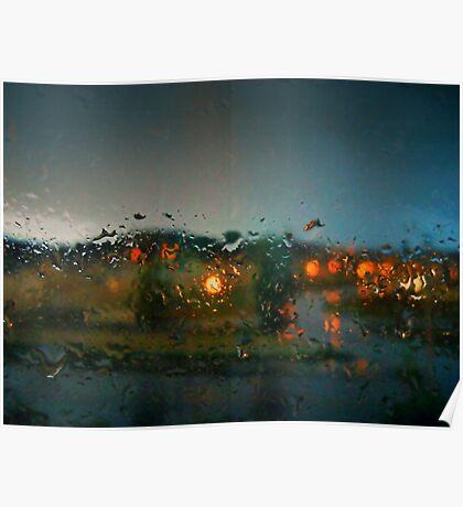 Rain Drops on a Window Poster