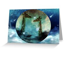 Giraffes Above Night Clouds Greeting Card