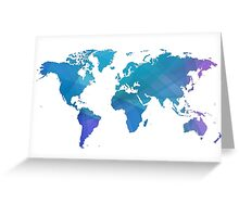Blue world map. Greeting Card