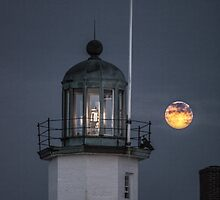 Scituate Lighthouse Super Moon by jaggednorth