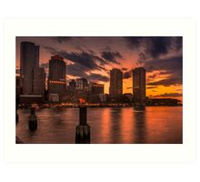 Red sun-dusk in Boston, MA  Art Print