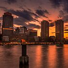 Red sun-dusk in Boston, MA  by LudaNayvelt