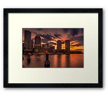 Red sun-dusk in Boston, MA  Framed Print