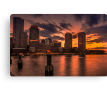 Red sun-dusk in Boston, MA  Canvas Print