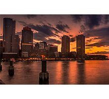 Red sun-dusk in Boston, MA  Photographic Print