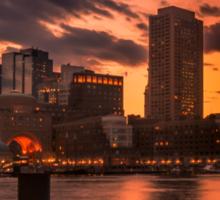 Red sun-dusk in Boston, MA  Sticker