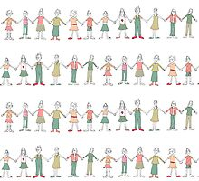 a row of girls by Sandy Mitchell