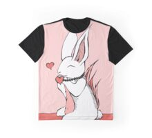 Pink Rabbit with Hearts Graphic T-Shirt