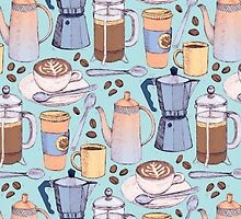 Coffee Love on Blue by micklyn