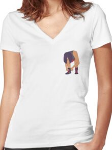 Lace Up! Purple Women's Fitted V-Neck T-Shirt