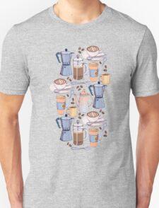 Coffee Love on Blue Unisex T-Shirt