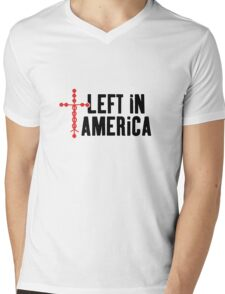 Left In America Fundraiser (black + red imprint) Mens V-Neck T-Shirt