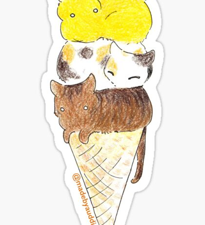 Triple scoop - Cat sticker Sticker
