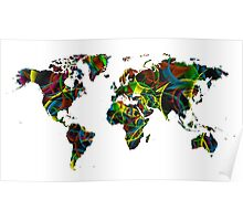 World map composition 1 Poster