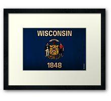 Wisconsin State Flag VINTAGE Framed Print