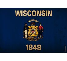 Wisconsin State Flag VINTAGE Photographic Print