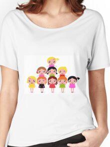 Cute little kids. Cartoon illustration. Women's Relaxed Fit T-Shirt