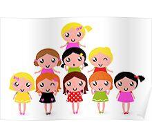 Cute little kids. Cartoon illustration. Poster