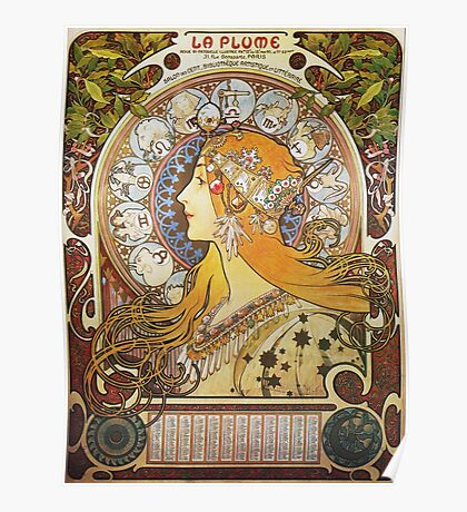 Alphonse Mucha - Ca La Plumezodiac Poster