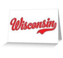 Wisconsin Script Red Greeting Card