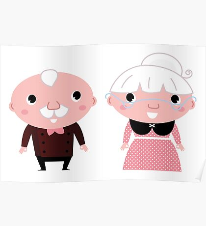 Grandmother and Grandfather.  Cartoon illustration. Poster