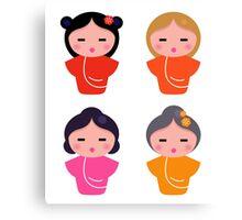 Colorful Geisha characters : original Artworks Canvas Print