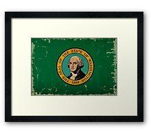 Washington State Flag VINTAGE Framed Print