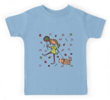 Funny girl with dog!  Kids Tee