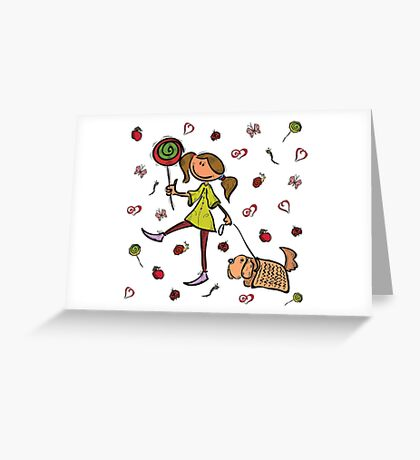 Funny girl with dog!  Greeting Card