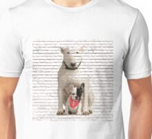 English Bull Terrier & Frenchie Friend Banksy Style Unisex T-Shirt